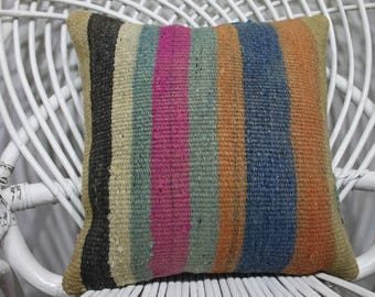 Special Kilim Pillow Cushion Covers Kilim pillow Vintage Turkish Kilim Pillow  Floor Pillow Turkish Striped  Kilim Pillow 16x16  233