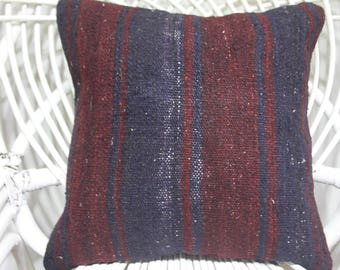 killim pillow red and blue tissu azteque kilim woven bench 16 x 16 pillow covers western pillow undyed wool woven wool pillow 16x16 4166