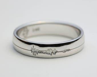 White Gold Sound Wave Ring, White Gold Soundwave Ring, Soundwave Wedding Band, Soundwave Wedding Ring, Sound Wave Wedding Ring, Soundwaves