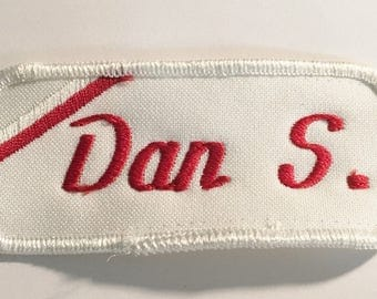 Dan S.  1970 Vintage Uniform Patch   NOS Vintage Uniform Sew On/ Iron On   Jacket Mechanic Trucker Embroidered Rockabilly Punk Name Tag