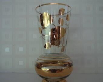 1950's Gilt decorated glass vase
