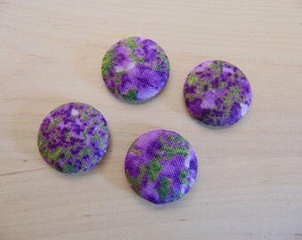 x 4 cabochons 20mm purple ref TOUR8 flowers fabric