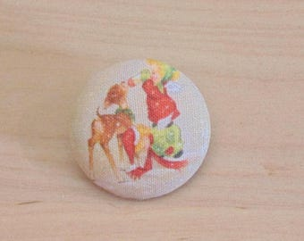 1 button x 22mm ref A34 Christmas girl fabric
