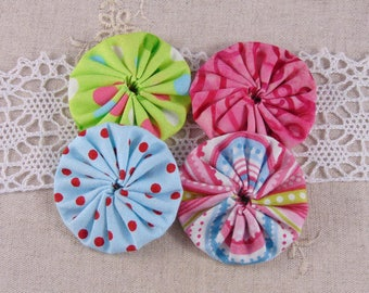 x 4 fabric flowers yoyos multicolor ref25