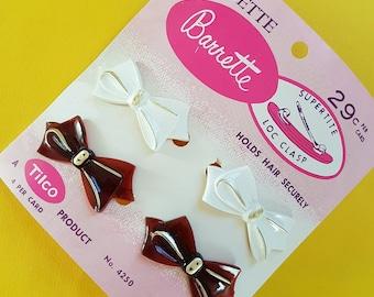 """Vintage """"Holdette"""" bows barrette hair clip set"""