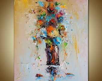 Flowers Oil Painting, Floral Art, Original Art, Flowers Painting, Textured Painting, Kitchen Decor, Rustic Wall Decor, Abstract Floral Art