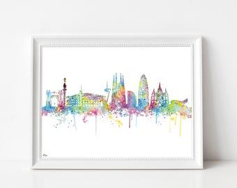 Barcelona poster, urban art, art print, skyline barcelona, spain art print, watercolor barcelona, cityscape illustration