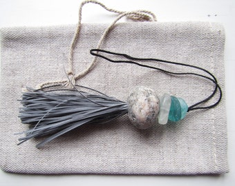 Sea Glass and Pebble Bag Accessory with reflective Fringes, Reflective Bag Decoration, Bag Reflector, Bag Jewelry, Shoulder bag Decor