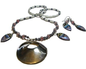 Hand Crafted Silver Tone Metal, Cat's Eye, and Glass Vintage Modern Beaded Necklace and Earrings By SoniaMcD