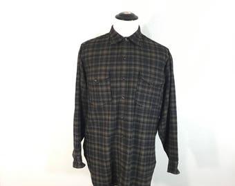 80's pendleton wool flannel shirt brown plaid