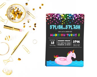 Unicorn pool invitation,Beach Party Invitation,Beach Invitation,Summer Invitation,Pool Invite,Beach party,summer party,Surf invite