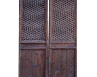 Sales Pair Tall Chinese Antique Geometic Screen Wall Panels Headboard wk2561E