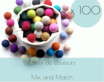 100 Felt balls/2.5 cm/wool pompom/DIY/bulk felt ball/choice of color/multicolor/felting/wholesale felt ball/creative project/Québec/Canada