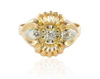Vintage ring gold diamonds
