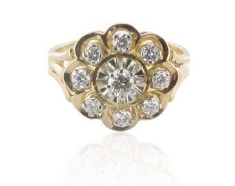 Flower ring rose gold Platinum diamonds