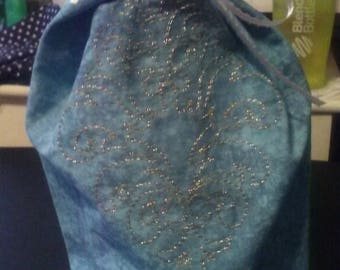 Blue and Silver Wine Bottle Bag