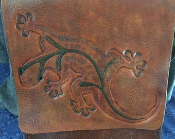 Handmade, hand tooled gecko leather messenger bag with inner pockets and adjustable strap!