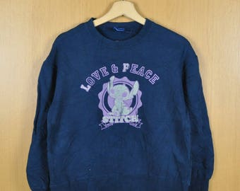Vintage Sweater Disney Love And Peace Shirt Cartoon Lilo And Stitch Nice Sweatshirt