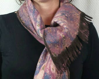 HANDMADE nuno felt scarf, felted wrap in blue, purple, pink and brown with enamel buttons on both sides, made on silk