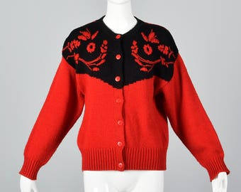 Medium Red Cardigan Sweater Embroidery Detail Long Sleeves Button Up Front Festive 1980s 80s Vintage