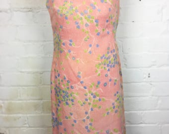 Late 1950's Early 1960's Pretty Pastel Floral Sleeveless Shift Dress. Pink/Blue/Green/White Floral Day Dress, Holiday Dress. UK Size 12/14