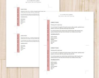 Set of 2 Recipe Cards - 3x5, 4x6 - Modern Printable Recipe Cards, Card Recipe - Recipe Card Template - MS Word *Instant Download*
