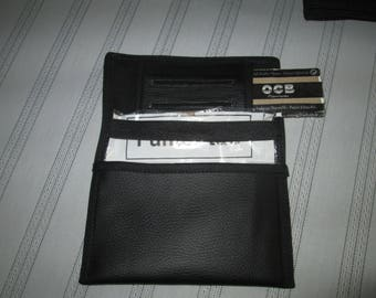 Has black faux leather tobacco pouch