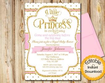 Baby shower invitation girl Etsy