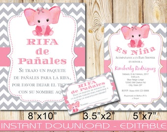 SPANISH Baby Shower Invitation Bundle,Girl, Pink Elephant Gray,INSTANT download, Editable, Diaper Raffle Sign,Tickets, DIY, Printable,PGCE1