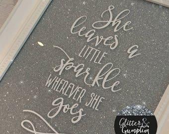 Shabby Chic Glitter she leaves a little sparkle frame