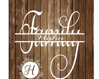 Family split letter fancy SVG DFX Cut file  Cricut explore file Wood sign decal scrapbook vinyl decal wood sign t shirt cricut cameo
