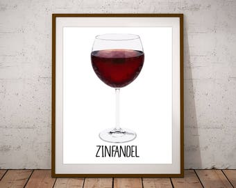 Wine Print - Bar Art - Bar Decor - Zinfandel - Kitchen Art - Wine Gift - Wine Art - Wine Decor - Wine Poster - Kitchen Decor - Wine Bar Art