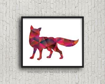 Nursery Decor, Nursery Wall Art, Fox, Woodland Nursery, Geometric Print, Fox Print, Fox Gift, Geometric Fox, Fox Gift, Nursery Prints, Print