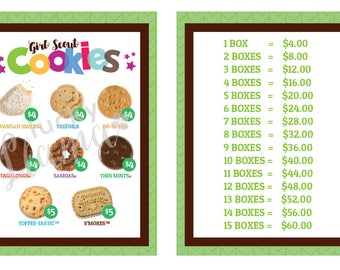 2018 Girl Scout Cookie lanyard - Printable- GREEN VERSON W/PRICING
