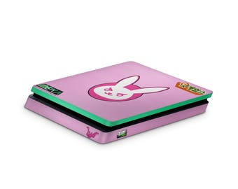 PlayStation 4 Slim D.va console skin wrap Overwatch fan art theme. Custom designs can be personalised