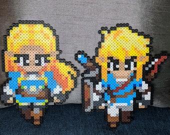 Blue Zelda and Link Pixel Beads