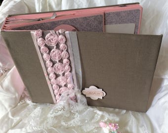 "Romantic wedding guest book, taupe and pink ""chiffon"" powder"