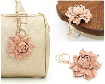 2 in 1 : Tabletop Purse HANGER + Nude Pink Flower BAG CHARM   Real Leather Rosy Rose Handbag Charm Folding Table Purse Hook, gold key chain