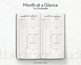 Standard TN, Month at a Glance, Midori, Monthly Planner, Midori Inserts, To Do List, Travelers Notebook, TN Inserts, Bullet Journal