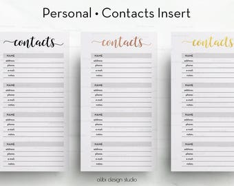 Contact Page, Personal Inserts, Gold Foil, Contact List, Planner Printable, Address Book, Printable Planner, Contact Organizer, Rose Gold