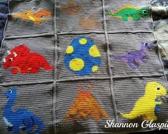 INSTANT DOWNLOAD - Dinosaurs - Crochet Graph - Crochet Pattern - Baby Blanket - Baby Dinosaurs - Afghan - Graphgan