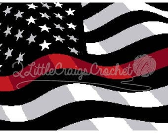 INSTANT DOWNLOAD- Firefighter Crochet-Thin Red Line-Firefighter Support-Firefighter Afghan-Firefighter Graphgan-Firefighter Blanket