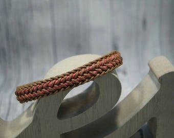 Braided bracelet Brown-pink