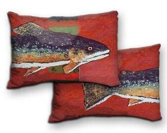 Indoor Outdoor Brook Trout Decorative Pillow