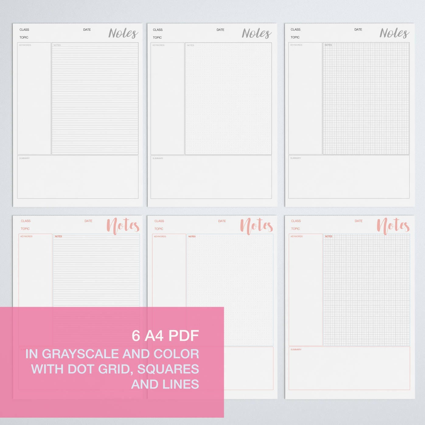 Cornell notes template - printable student notes - student help ...