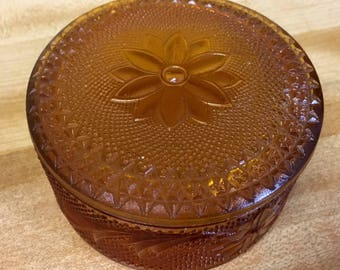 Indiana Glass Amber Tiara Trinket/Powder Dish