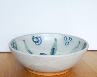 ON SALE Handmade Ceramic Bowl, Blue Green Handpainted Floral Design, Matte White Bowl, Modern Pottery, Gift for Her, Housewarming Gift, Grad