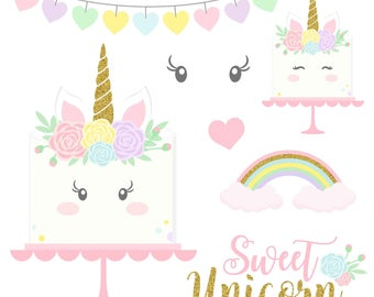 Unicorns clipart Gold Glitter Unicorns Unicorn head Unicorn