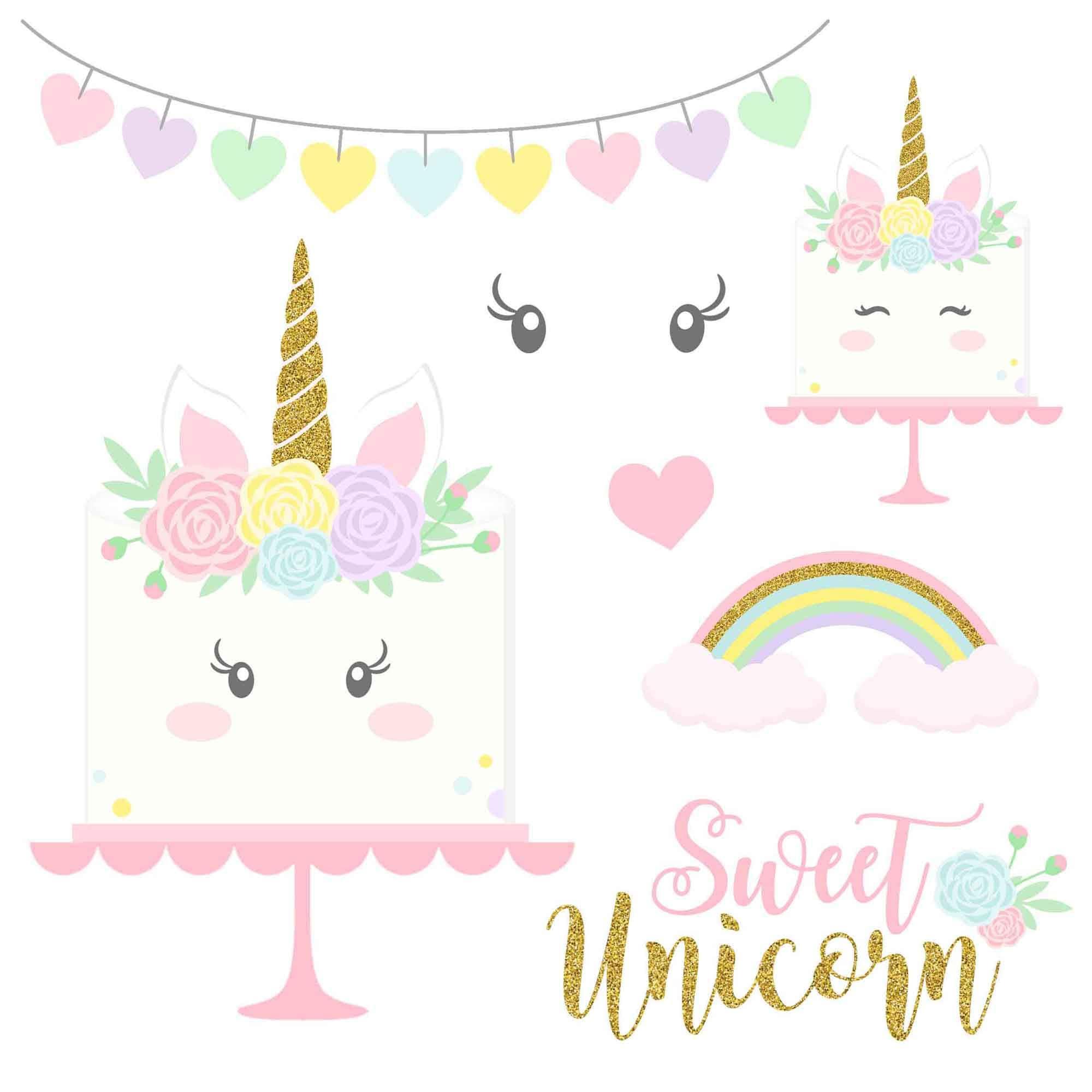 Unicorn Cake Clipart Magical Unicorns Gold Glitter Unicorns