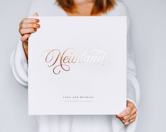 Wedding Guest Book in Real Gold Foil Custom Calligraphy Guestbook Sign In Album Personalized Wedding Photo Hardcover Wedding Gift